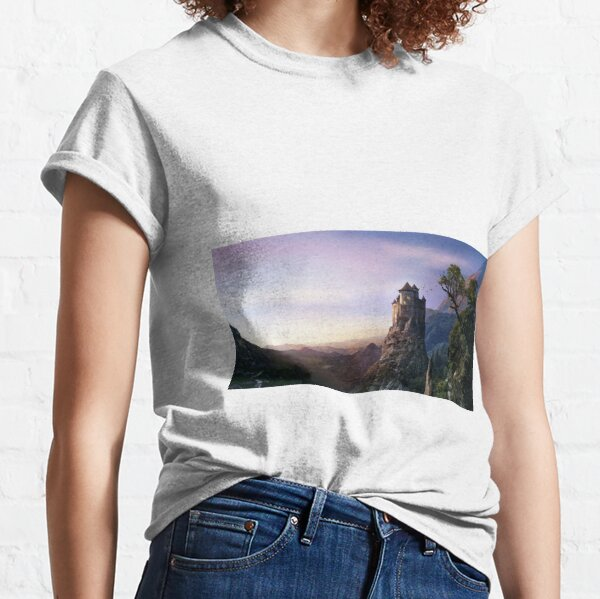 #Castle, #mountain, #landscape, #sunset, sky, nature, horizon, dusk, rock Classic T-Shirt