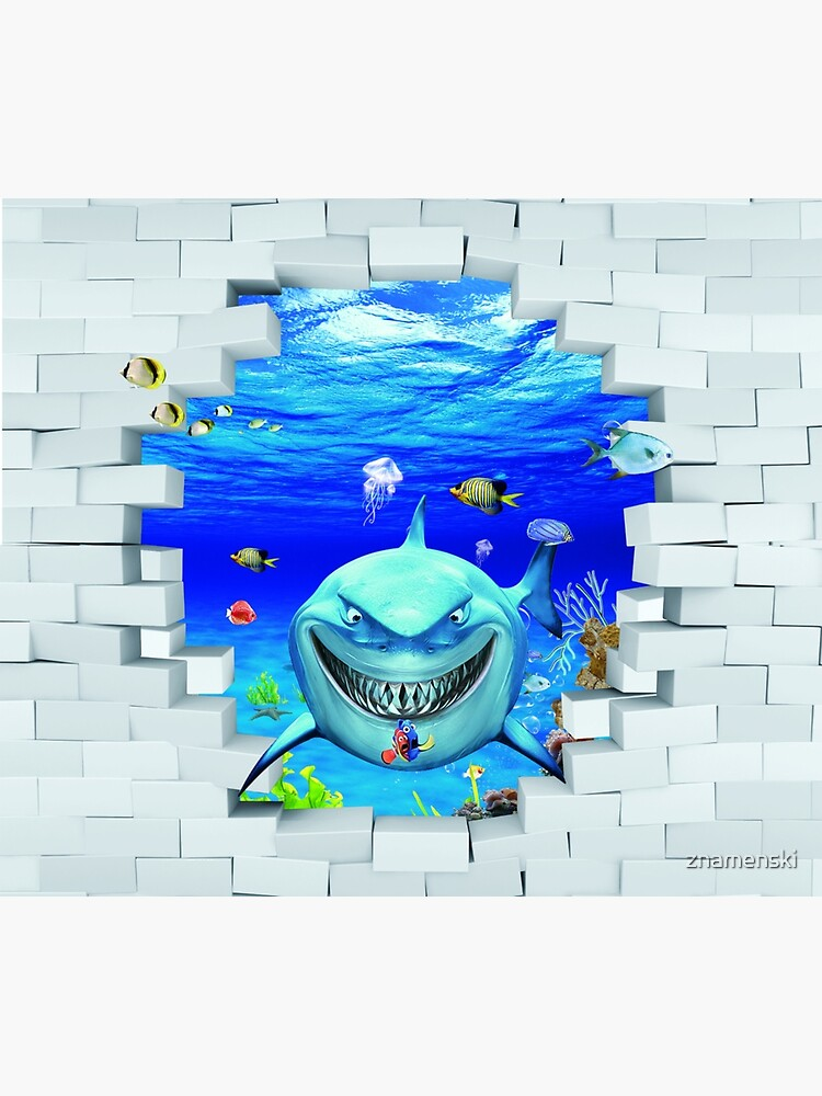 Wall mural: Shark swims out of the hole in the wall by znamenski