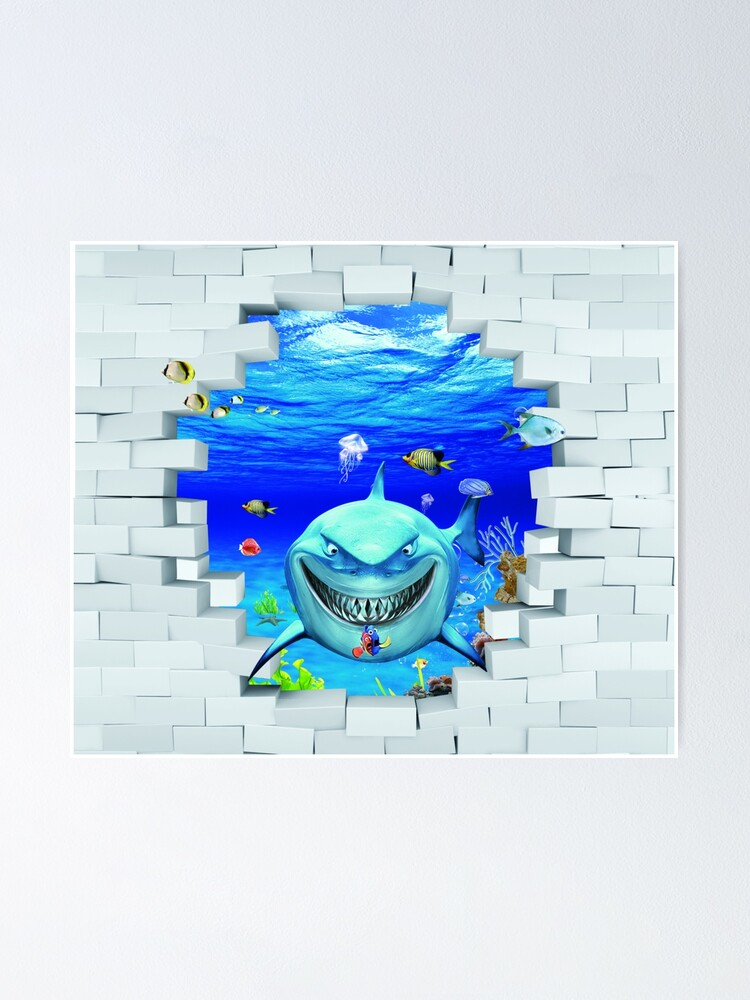 Alternate view of Wall mural: Shark swims out of the hole in the wall Poster