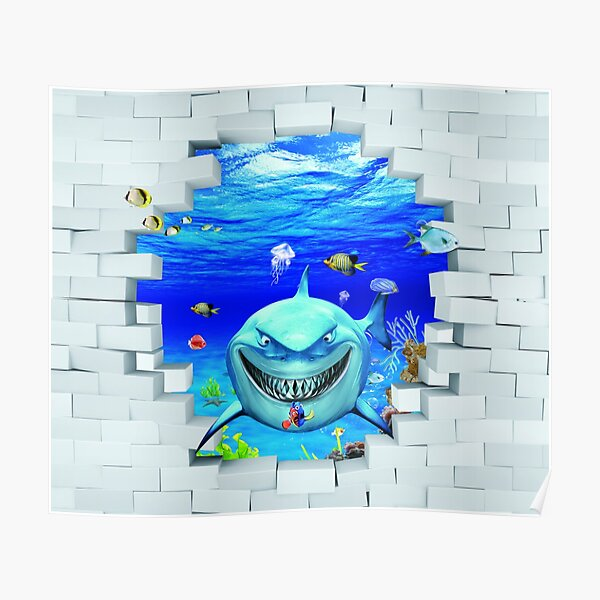 Wall mural: Shark swims out of the hole in the wall Poster