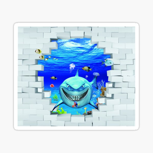 Wall mural: Shark swims out of the hole in the wall Sticker