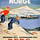 Til Norge - Kobenhavn - Oslo Frederikshavn - Oslo DFDS - Norwegen Vintages Reise-Plakat von vintagetravel