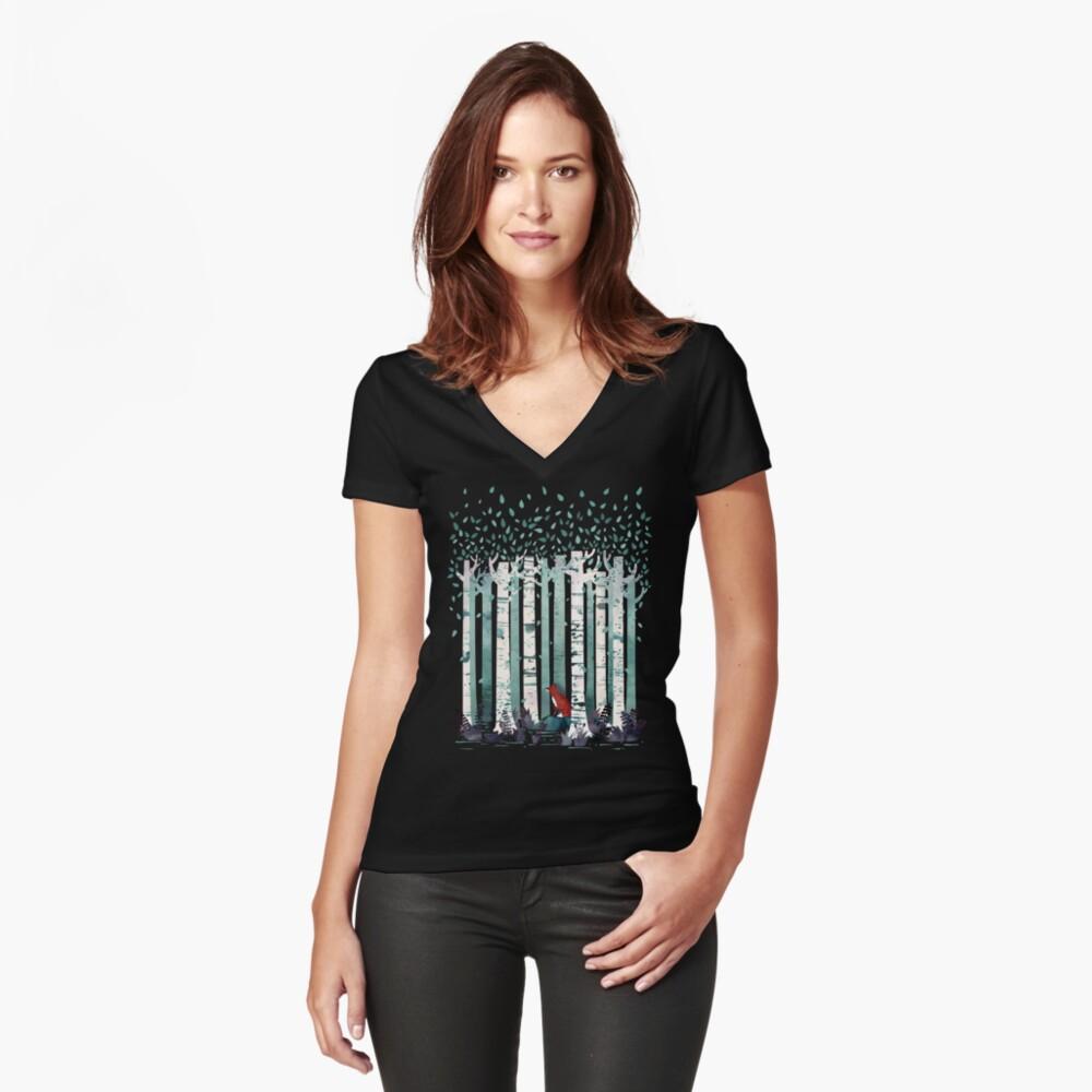 Die Birken Tailliertes T-Shirt mit V-Ausschnitt