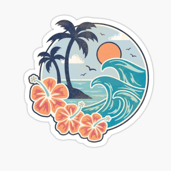 hawaiian waves Sticker