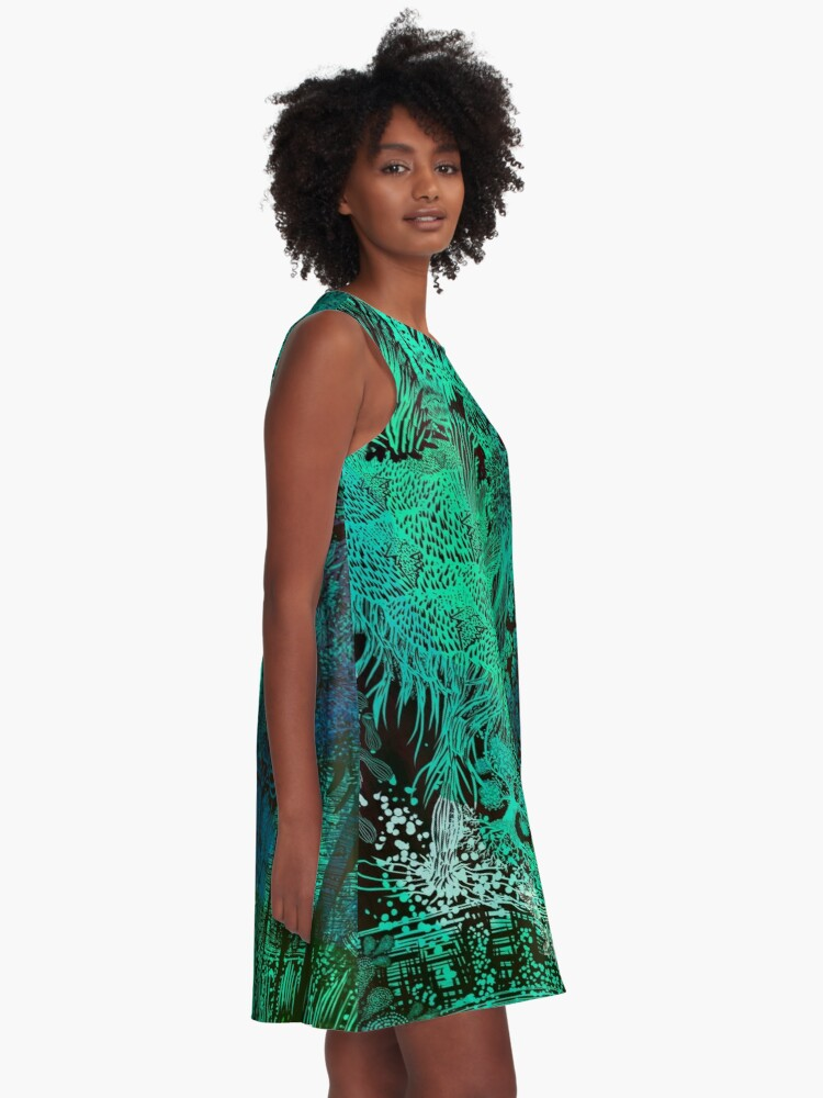 Alternate view of Turquoise Jungle A-Line Dress