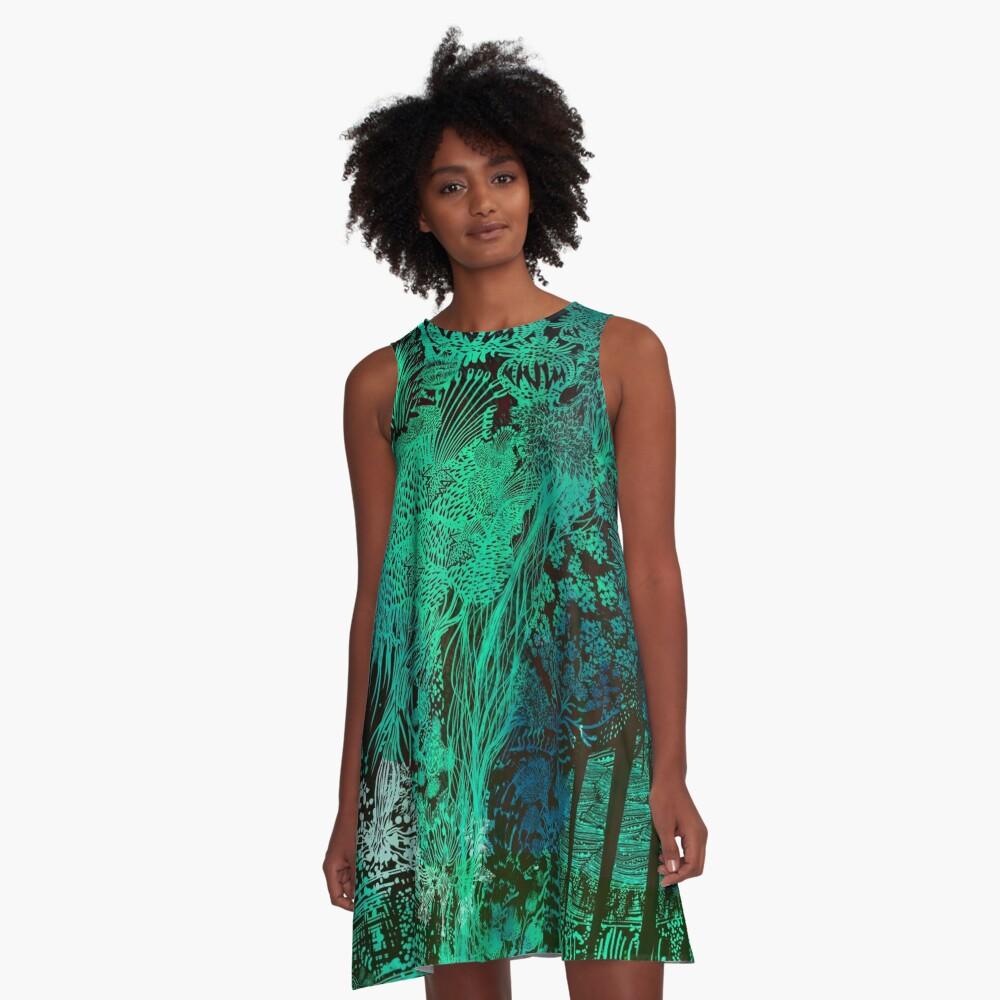 Turquoise Jungle A-Line Dress