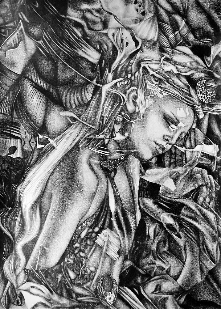 Silent Whispers, 2019, 50-70 cm, Graphitstift auf Papier von oanaunciuleanu