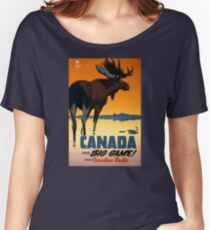 Canada Moose Vintage Travel Poster Restored Women's Relaxed Fit T-Shirt