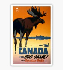 Canada Moose Vintage Travel Poster Restored Sticker