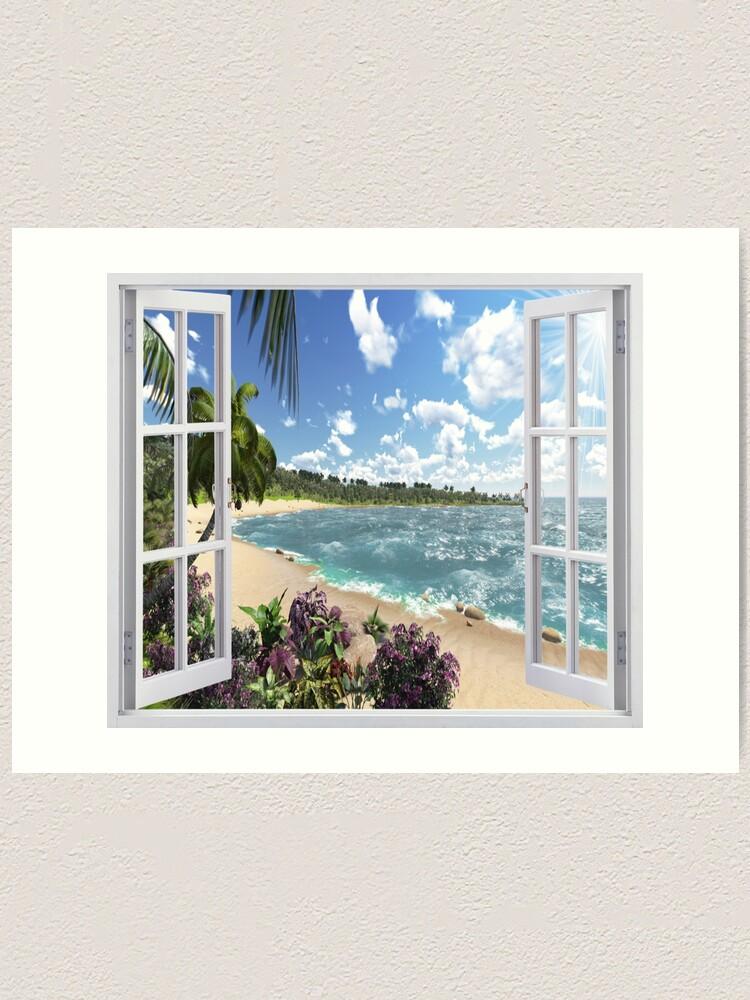 Alternate view of #Summer, #tropical, #beach, #water, sand, sea, island, travel, idyllic, sky, nature Art Print