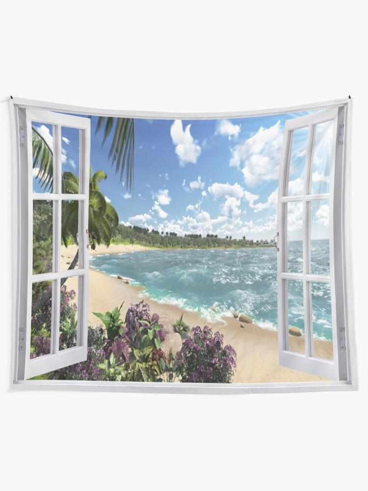 Alternate view of #Summer, #tropical, #beach, #water, sand, sea, island, travel, idyllic, sky, nature Tapestry