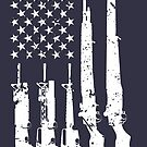 American Rifles Flag (White Distressed) by nothinguntried