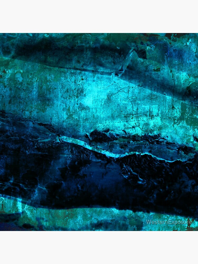 Beneath - Abstract in navy blue and turquoise by WesternExposure