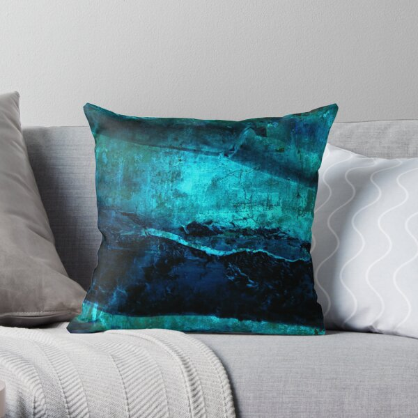 Beneath - Abstract in navy blue and turquoise Throw Pillow