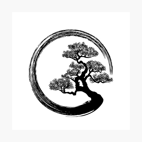 Enso Zen Circle and Bonsai Tree  Photographic Print