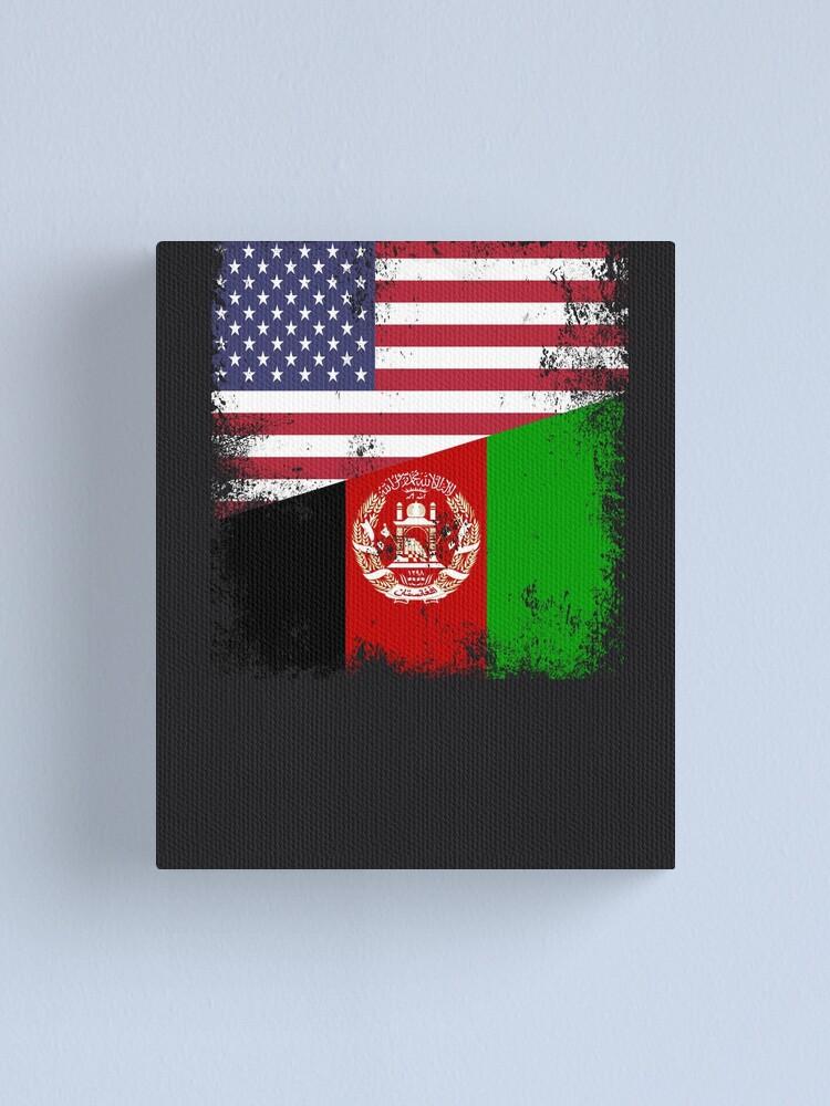 Half Afghan Flag Design Vintage Afghanistan Usa Gift Canvas Print By Melsens Redbubble