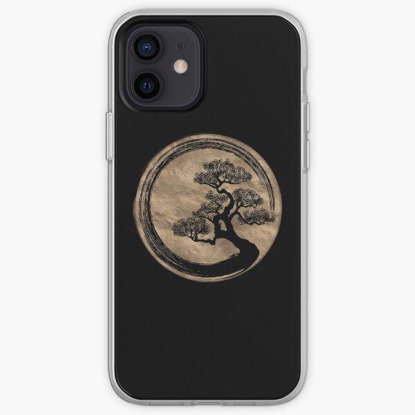 Enso Zen Circle and Bonsai Tree Gold iPhone Soft Case