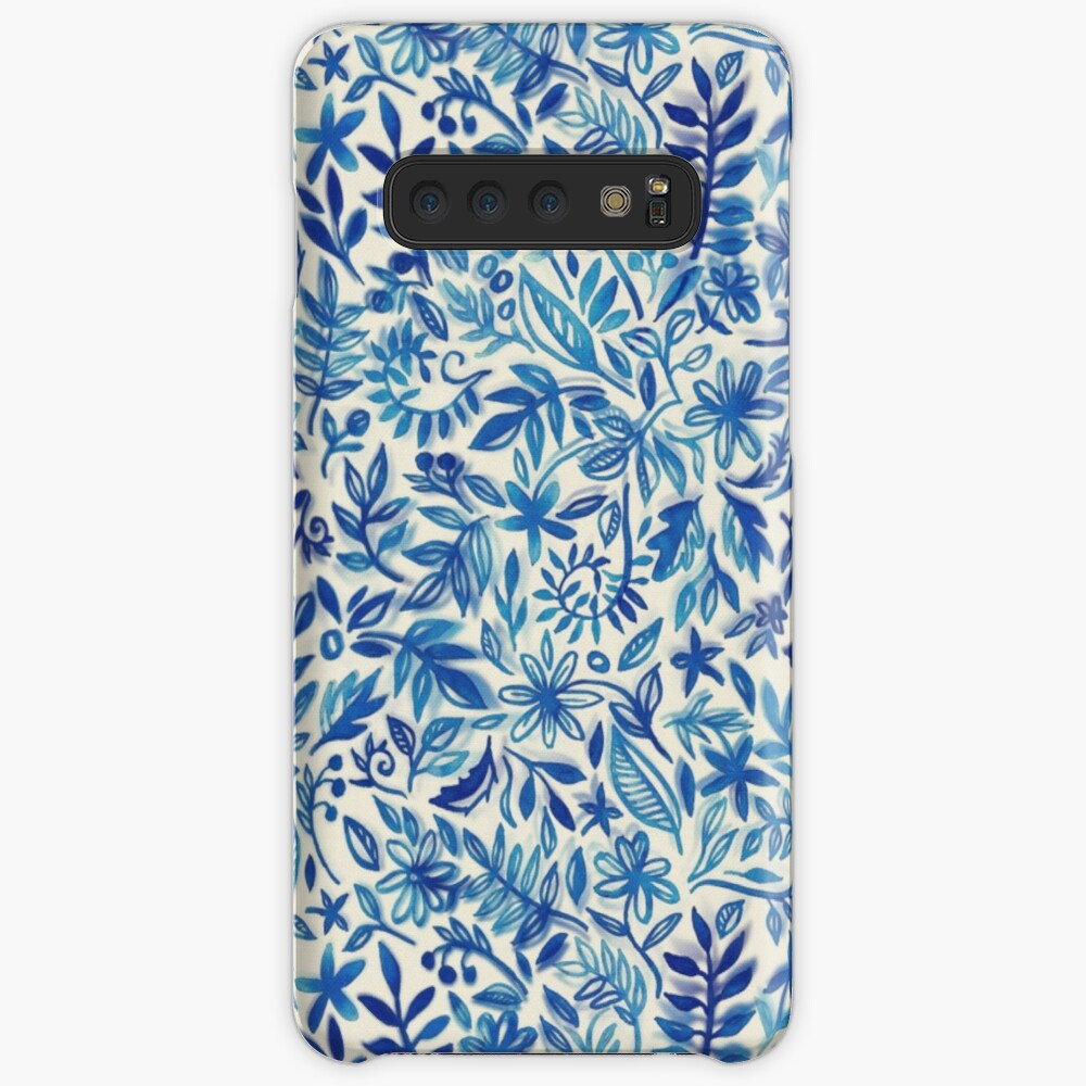 Floating Garden - a watercolor pattern in blue Case & Skin for Samsung Galaxy