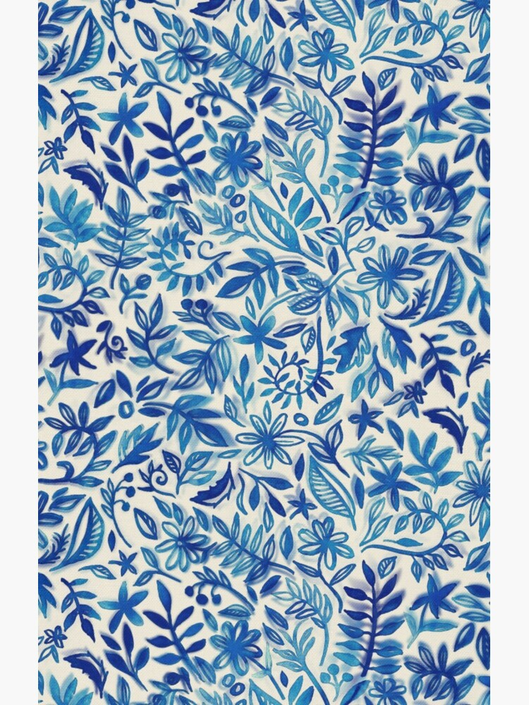 Floating Garden - a watercolor pattern in blue by micklyn