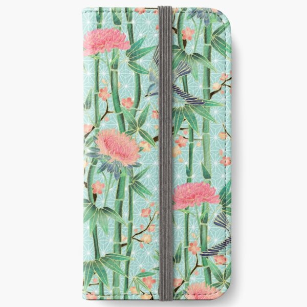 Bamboo, Birds and Blossom - soft blue green iPhone Wallet
