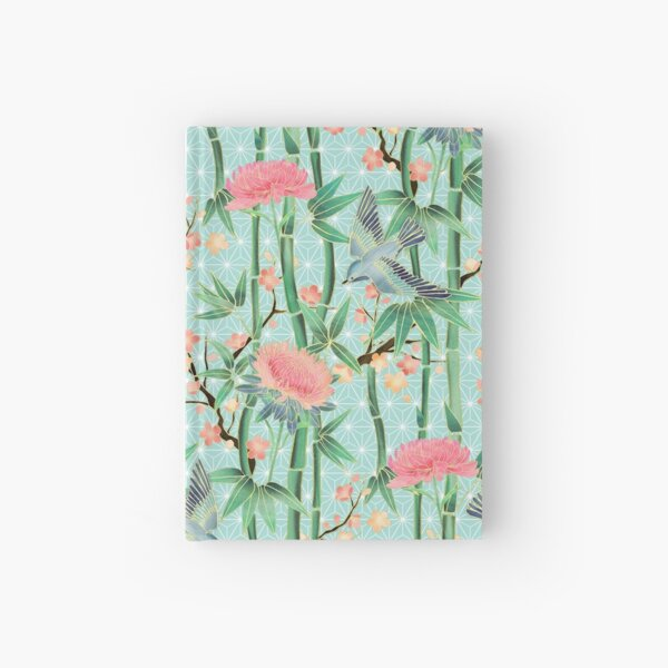 Bamboo, Birds and Blossom - soft blue green Hardcover Journal