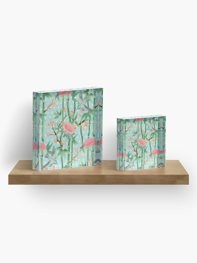 Alternate view of Bamboo, Birds and Blossom - soft blue green Acrylic Block