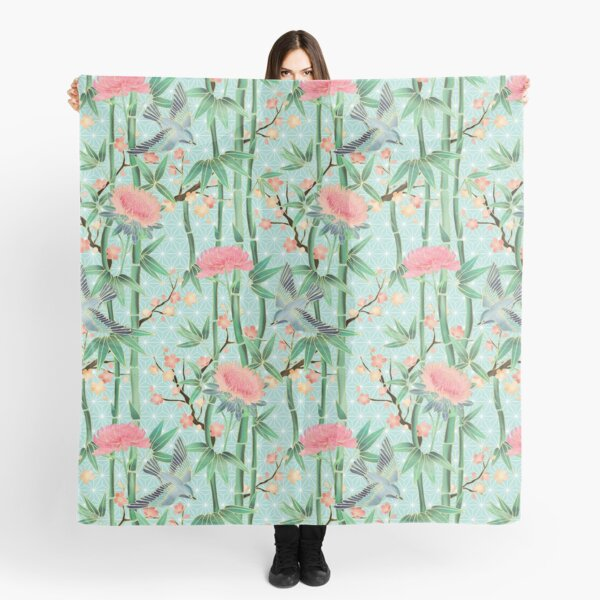 Bamboo, Birds and Blossom - soft blue green Scarf