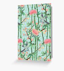 Bambus, Vögel und Blüten - weich blau grün Grußkarte