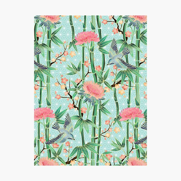 Bamboo, Birds and Blossom - soft blue green Photographic Print