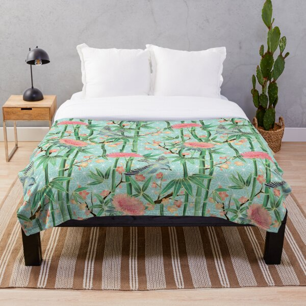 Bamboo, Birds and Blossom - soft blue green Throw Blanket