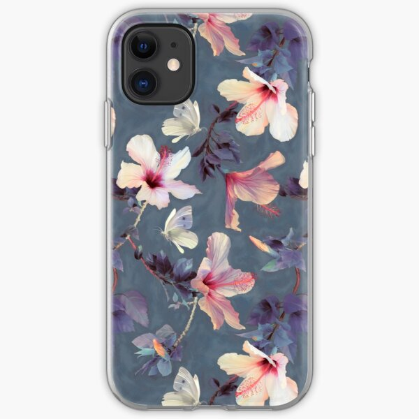 Butterflies and Hibiscus Flowers - a painted pattern iPhone Soft Case