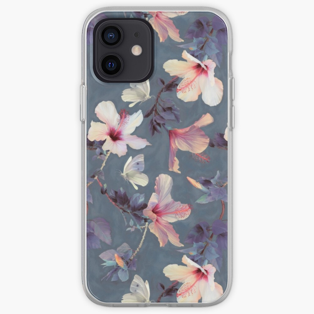 Butterflies and Hibiscus Flowers - a painted pattern iPhone Case & Cover