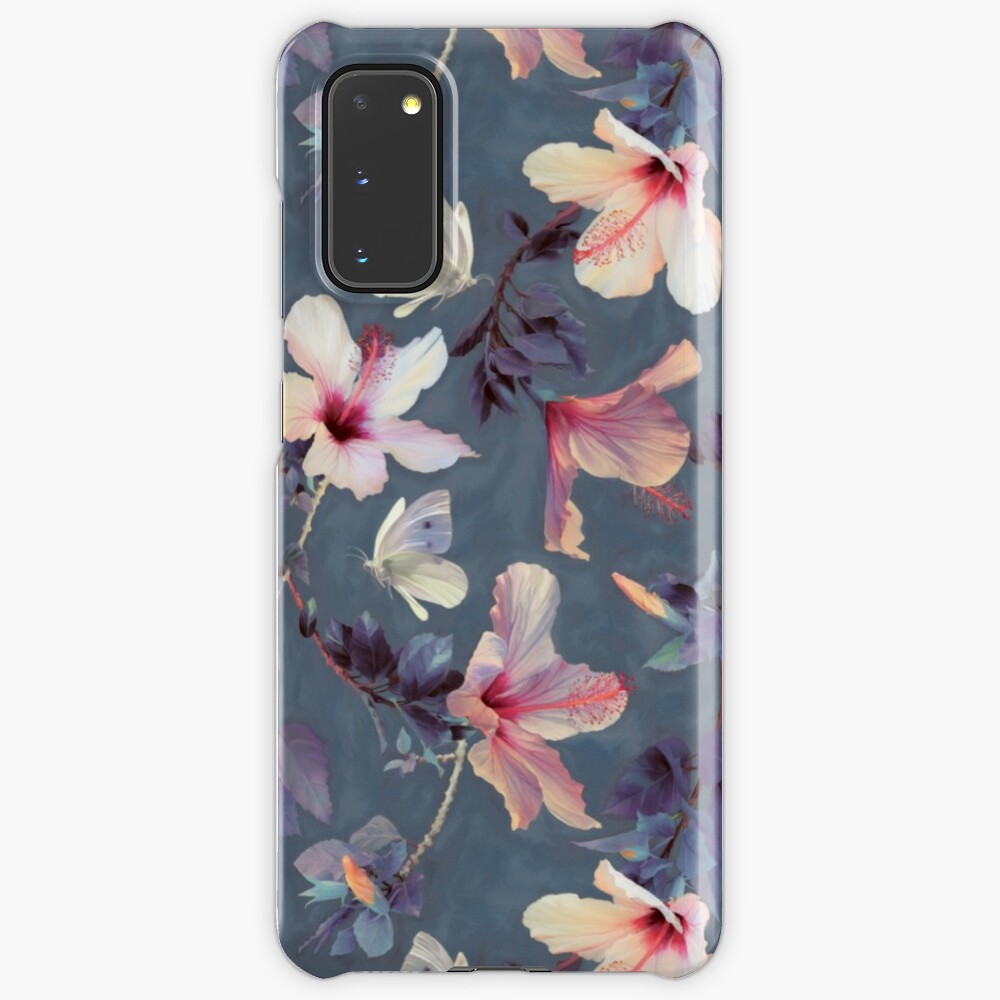 Butterflies and Hibiscus Flowers - a painted pattern Case & Skin for Samsung Galaxy