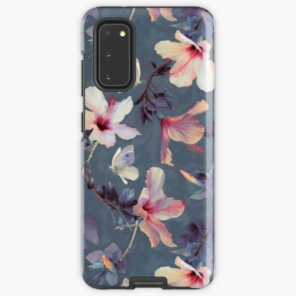 Butterflies and Hibiscus Flowers - a painted pattern Samsung Galaxy Tough Case