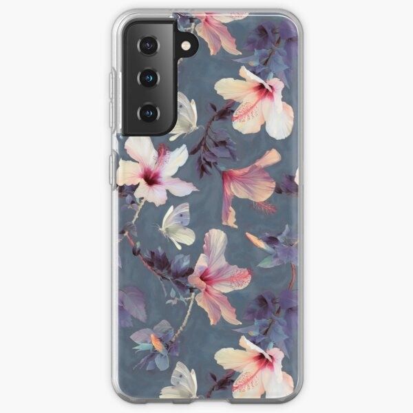 Butterflies and Hibiscus Flowers - a painted pattern Samsung Galaxy Soft Case