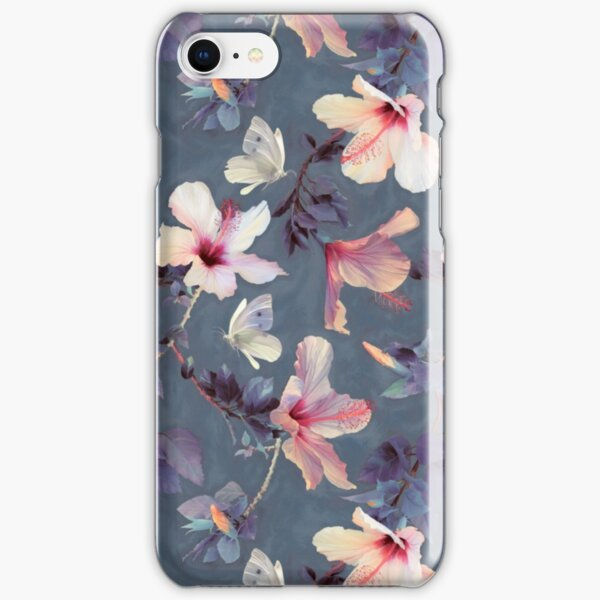 Butterflies and Hibiscus Flowers - a painted pattern iPhone Snap Case