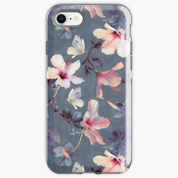 Butterflies and Hibiscus Flowers - a painted pattern iPhone Tough Case