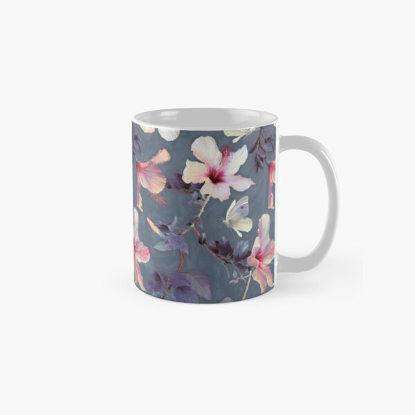 Butterflies and Hibiscus Flowers - a painted pattern Classic Mug