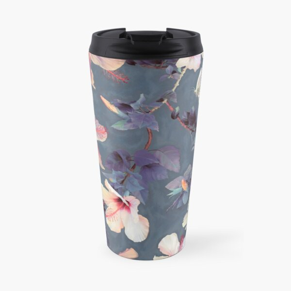 Butterflies and Hibiscus Flowers - a painted pattern Travel Mug