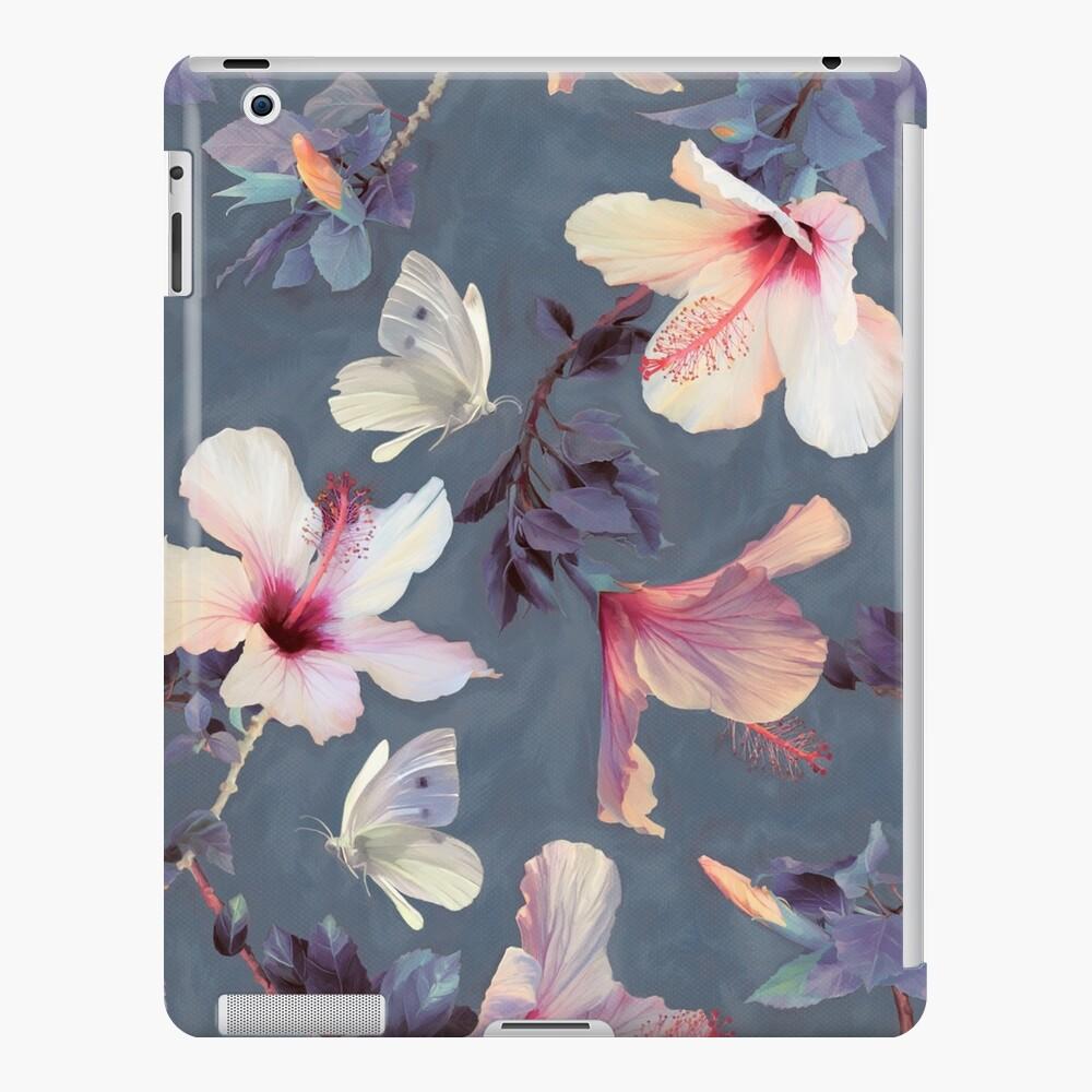 Mariposas y flores de hibisco - un patrón pintado Funda y vinilo para iPad