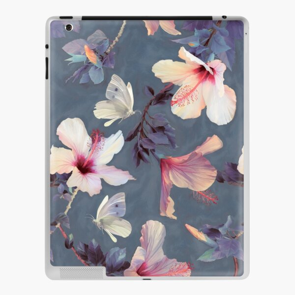 Butterflies and Hibiscus Flowers - a painted pattern iPad Skin