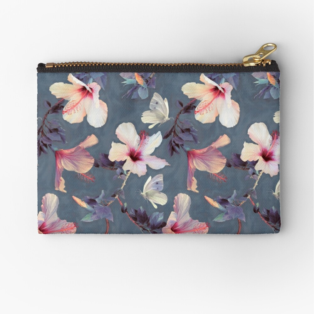 Butterflies and Hibiscus Flowers - a painted pattern Zipper Pouch