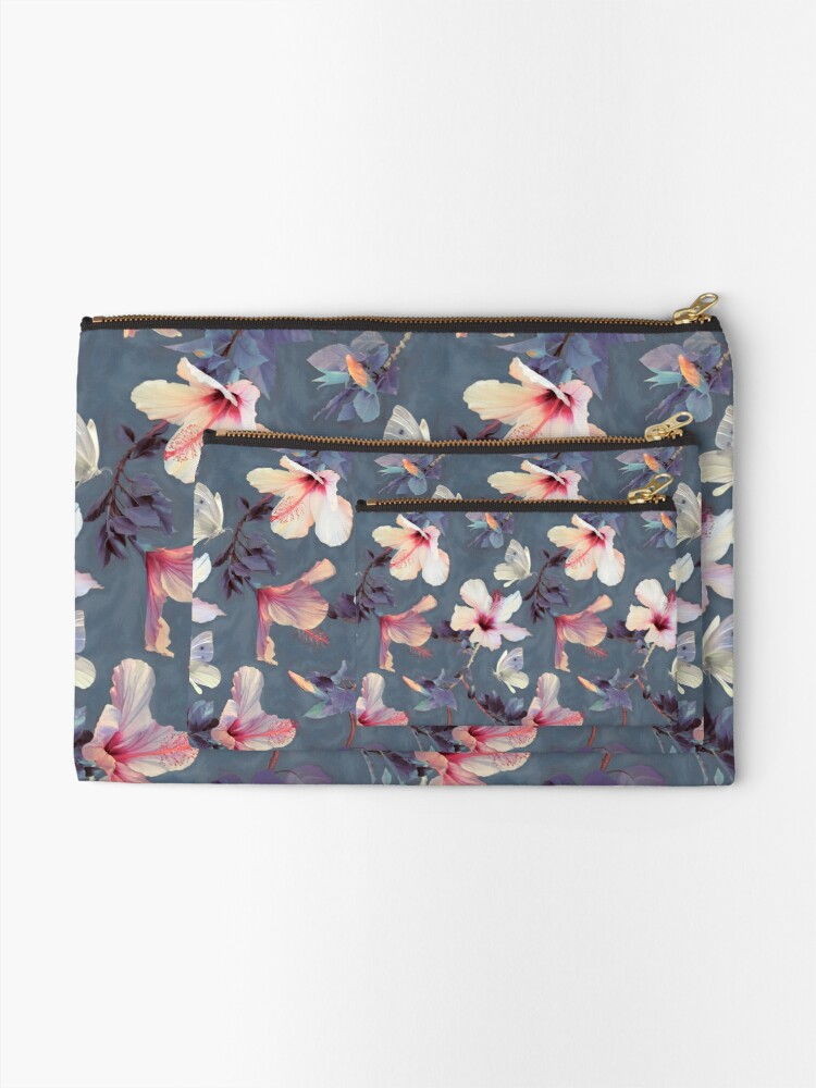 Alternate view of Butterflies and Hibiscus Flowers - a painted pattern Zipper Pouch