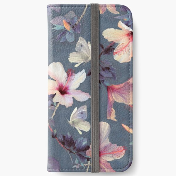 Butterflies and Hibiscus Flowers - a painted pattern iPhone Wallet