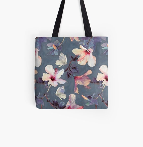 Butterflies and Hibiscus Flowers - a painted pattern All Over Print Tote Bag