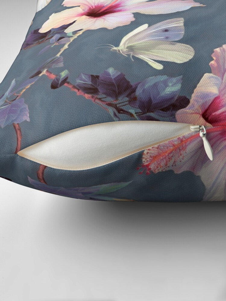 Alternate view of Butterflies and Hibiscus Flowers - a painted pattern Throw Pillow
