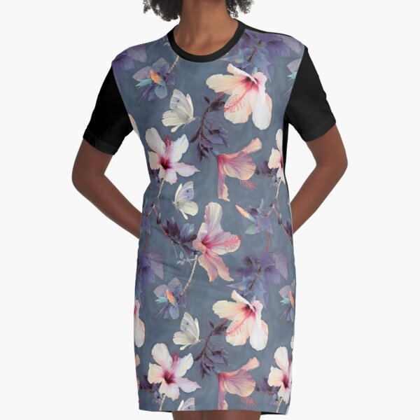Butterflies and Hibiscus Flowers - a painted pattern Graphic T-Shirt Dress