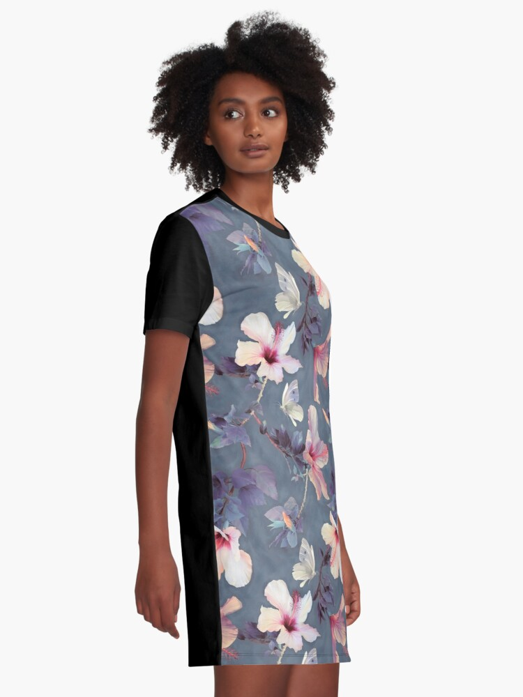 Alternate view of Butterflies and Hibiscus Flowers - a painted pattern Graphic T-Shirt Dress