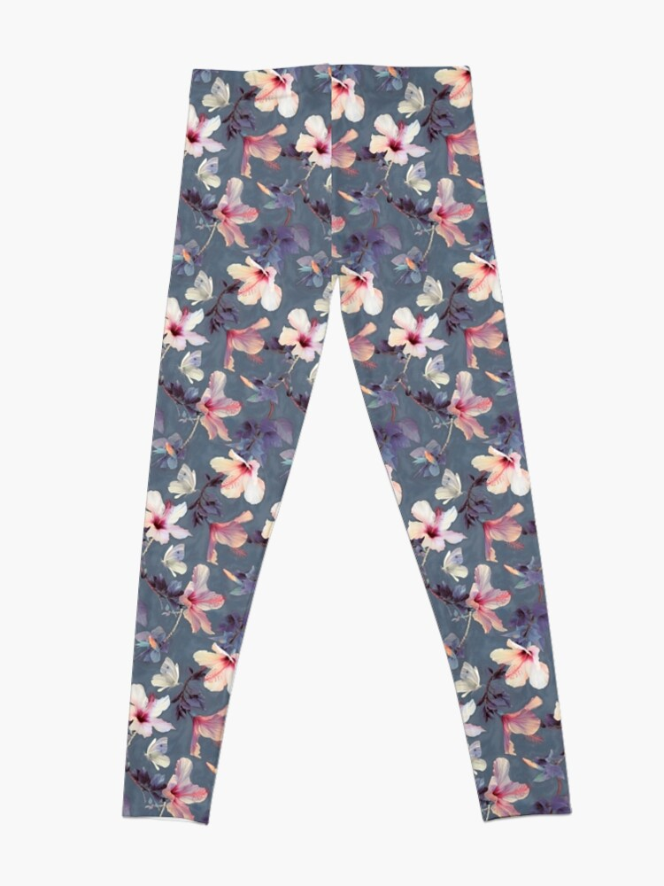 Alternate view of Butterflies and Hibiscus Flowers - a painted pattern Leggings