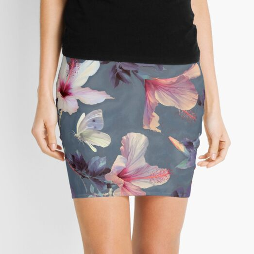 Butterflies and Hibiscus Flowers - a painted pattern Mini Skirt